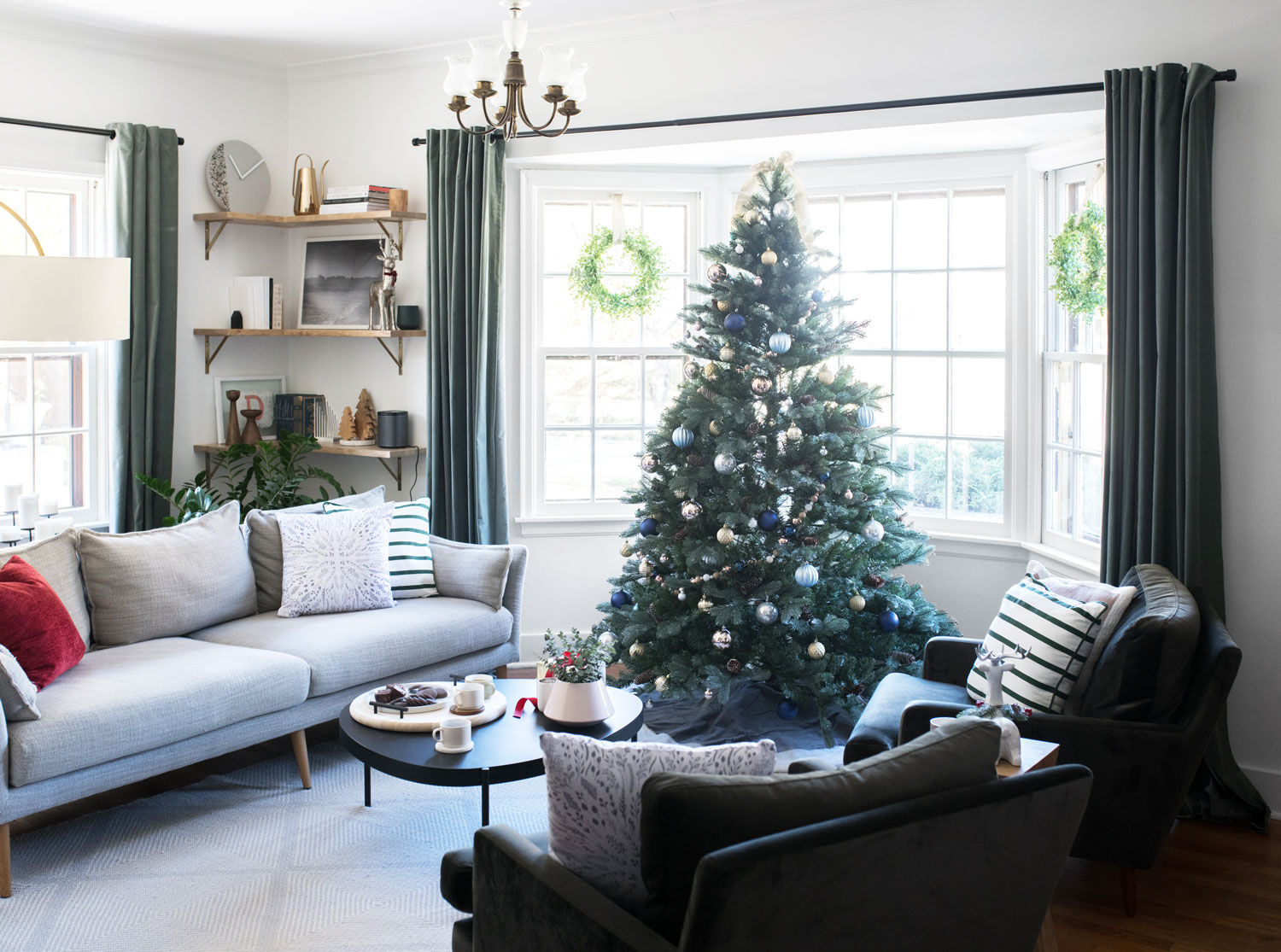 The living room looks so cheery and ready for the holidays.