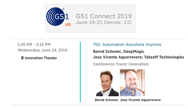 May 10, 2019 - Upcoming event in June. Our CEO, Dr. Bernd Schoner, will be at GS1 Connect 2019, June 19-21 Denver. Dr. Bernd Schoner will be giving a talk at the innovation theater on automation.