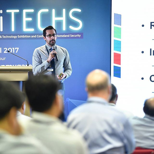 AI Lab researcher Aaron Elkins presenting on technology for automated deception detection at the Singapore Home Team Science and Technology Conference for Homeland Security - July 11, 2017.