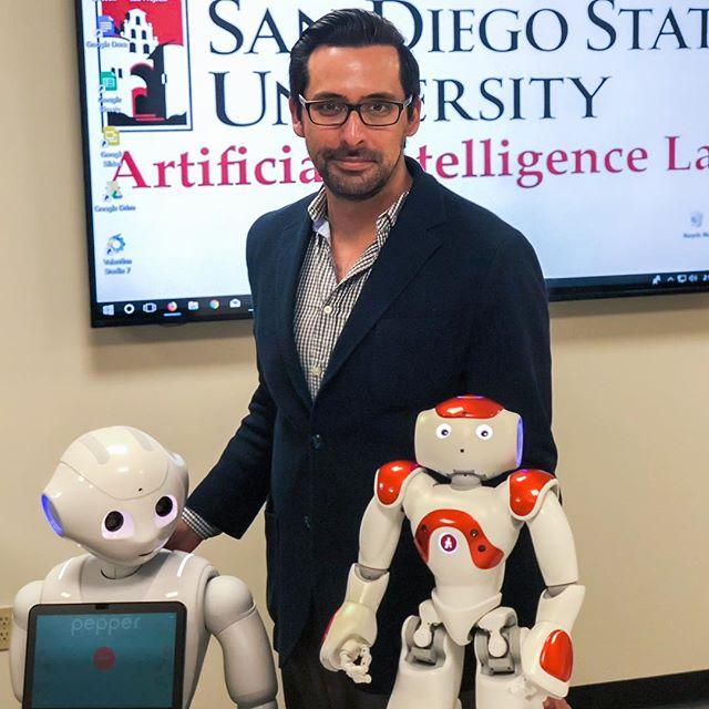 Pepper and Bernard almost sat still for a robot family photo @sdsufowler @experiencesdsu  @sdsu
