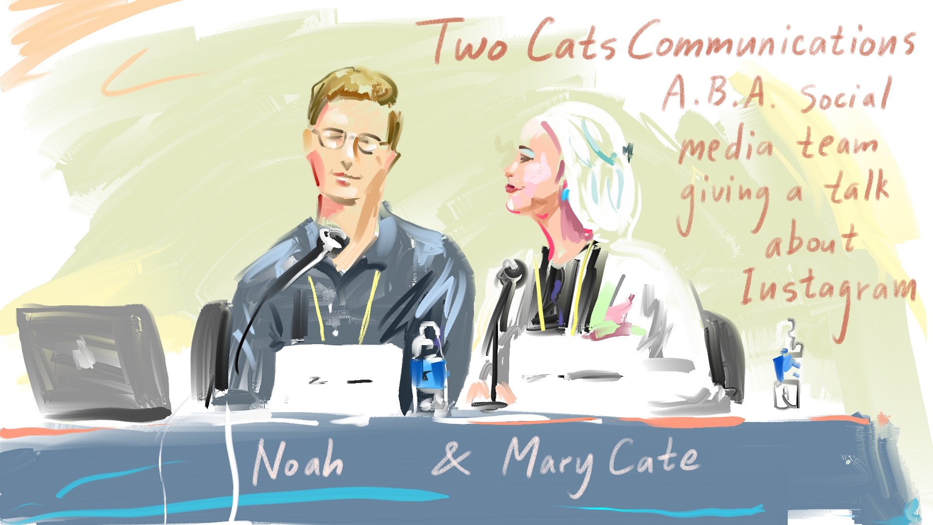 Two Cats delivering a panel at a national book industry conference. Illustration by New Yorker cartoonist    Bob Eckstein   .