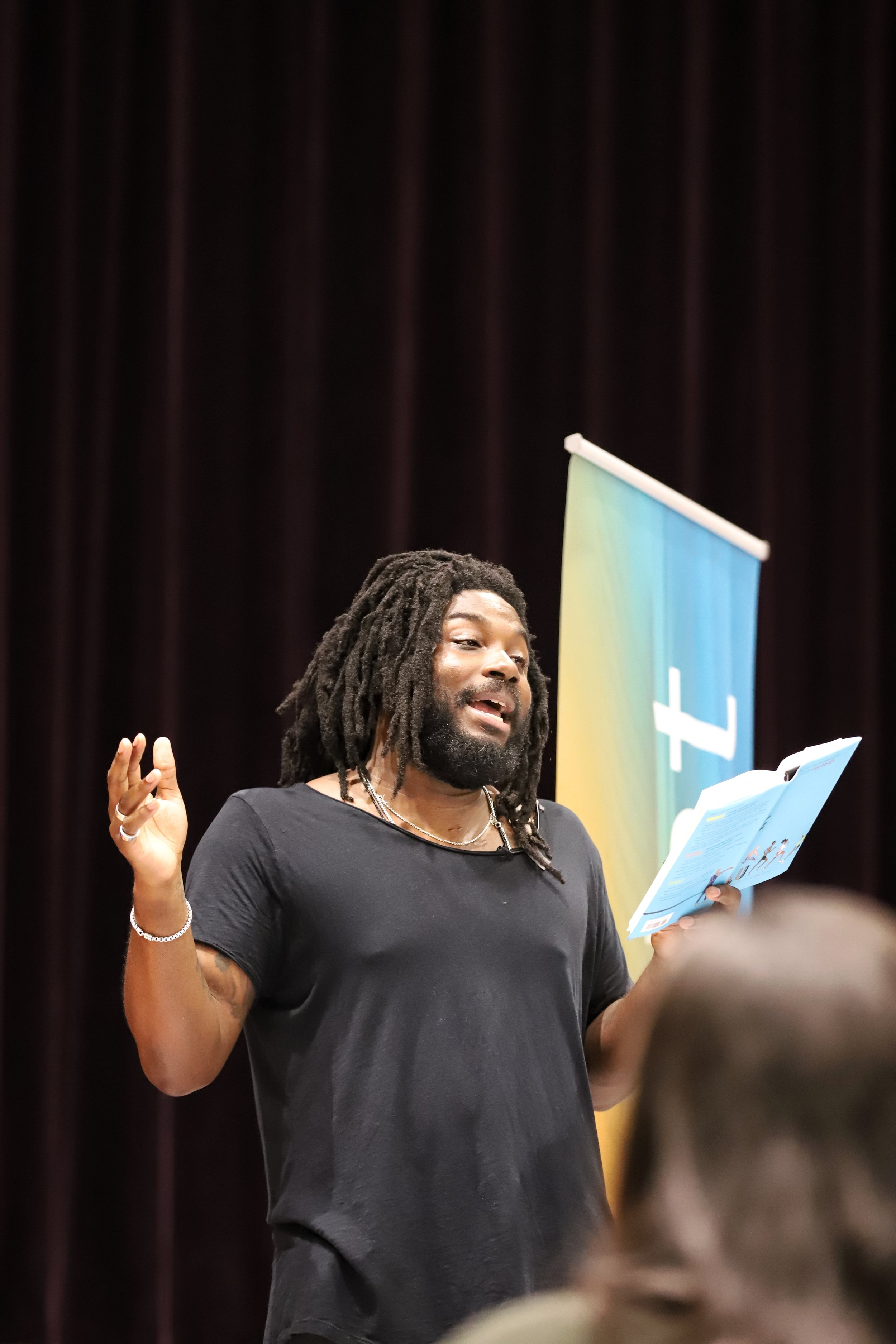 "New York Times bestselling author Jason Reynolds (A LONG WAY DOWN, ""Track"" series). Event photography by Two Cats Communications."
