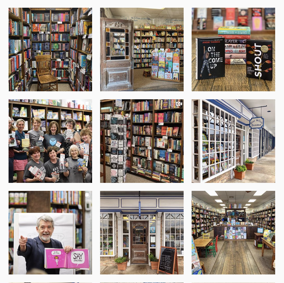 Instagram grid design featuring indie bookstores