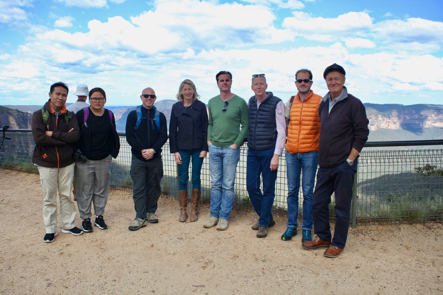 Participants of the November 2018 Adaptive Management course at Govett's Leap in Blackheath. Dr John Merson (far right).
