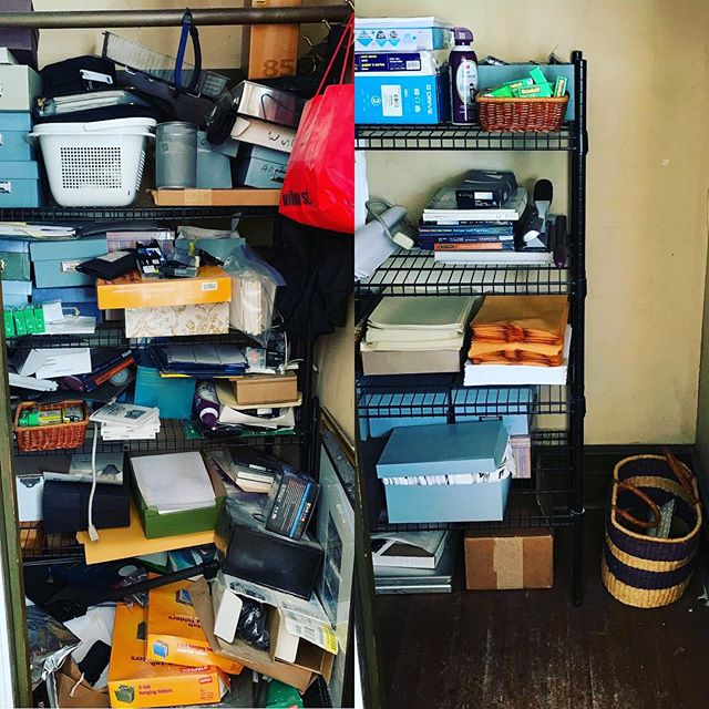Before and after pictures of my client's home office closet. She let go of A LOT! #konmarimethod #konmariconsultant #konmariconsultants #tidycloset