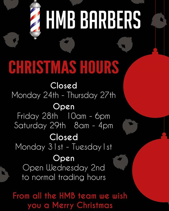Christmas holiday trading hours. REMEMBER, We have lots of christmas gift ideas: product packages for him and VIP vouchers. Available in store. Merry Christmas from the HMB team . . . . . . #barberlife #barbering #barbershop #lovingnundah #nundahvillage #brisbane #fade #taperfade #taper #cutthroat #barber💈 #barbershopconnect #hmbbarbers #hmb #cannonhill #southsidebrisbane #northbrisbane #australia #barberworld #haircut #haircuts #haircutsformen #christmas #giftsforhim #giftideas