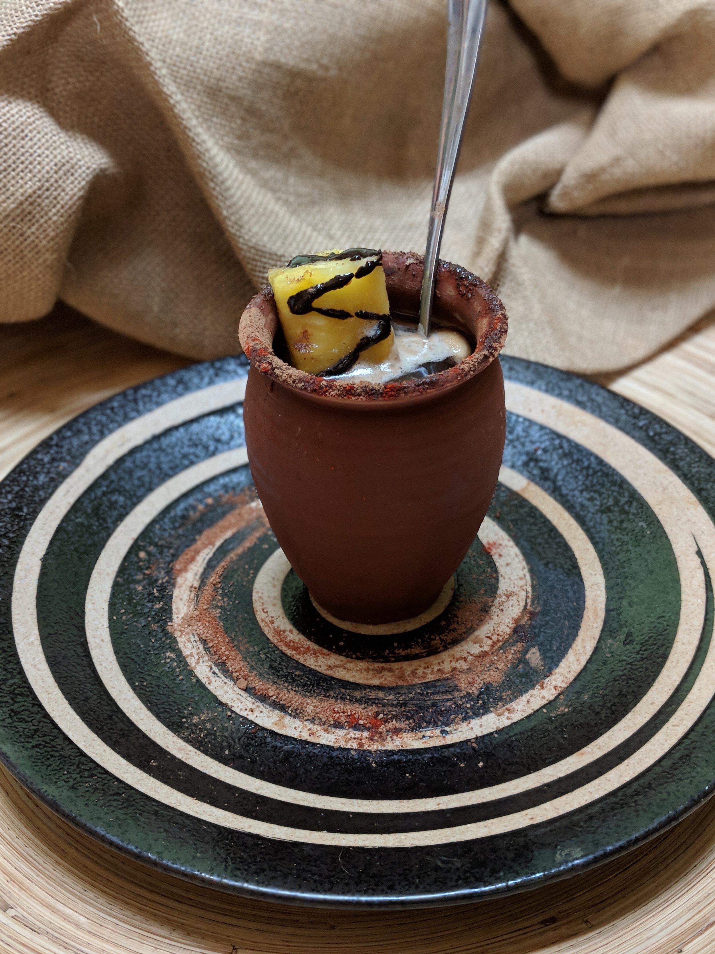Tepache  (5-day fermented pineapple beverage)  Shrub/Cocoa-Ancho Chile Sugar Rimmed  Jarra