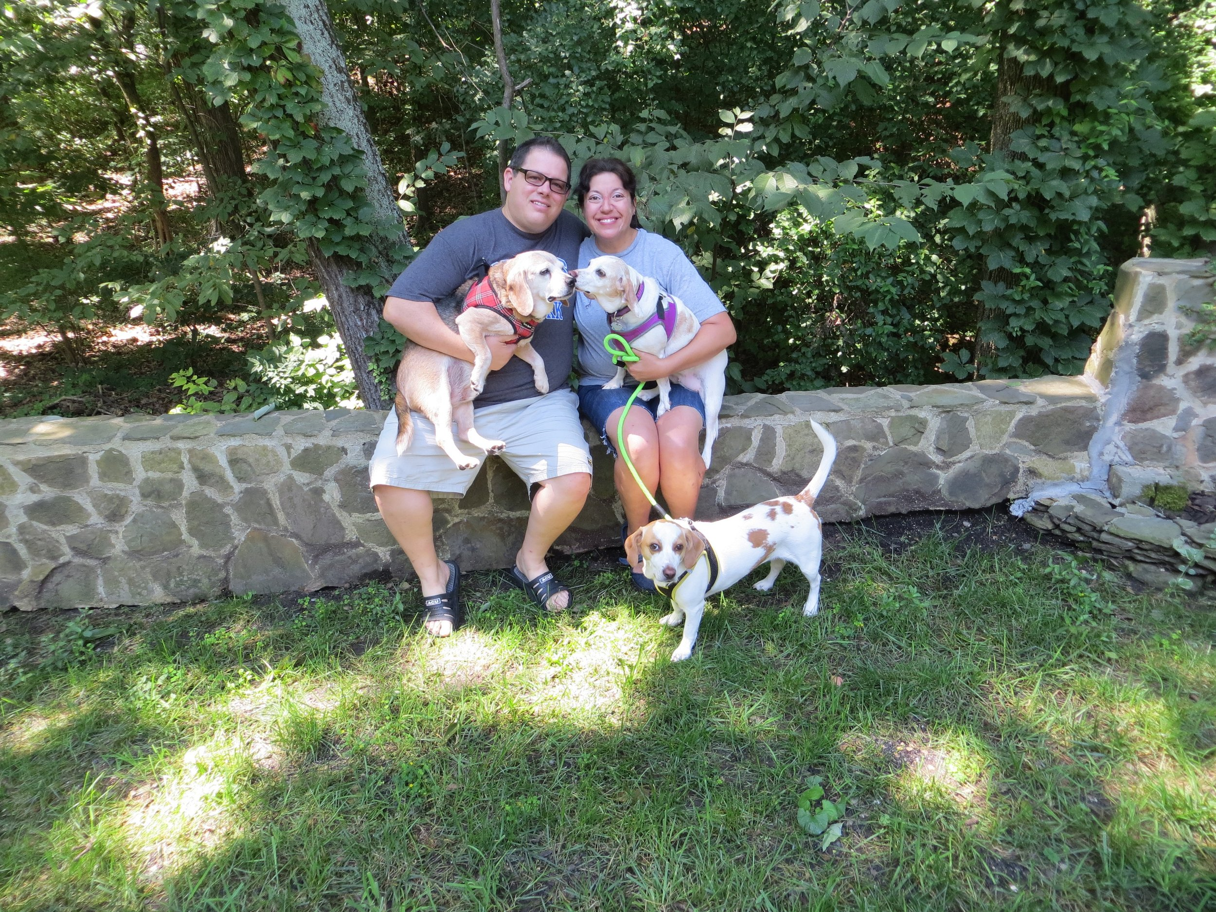 Loving couple and pups are excited to welcome a child to their family