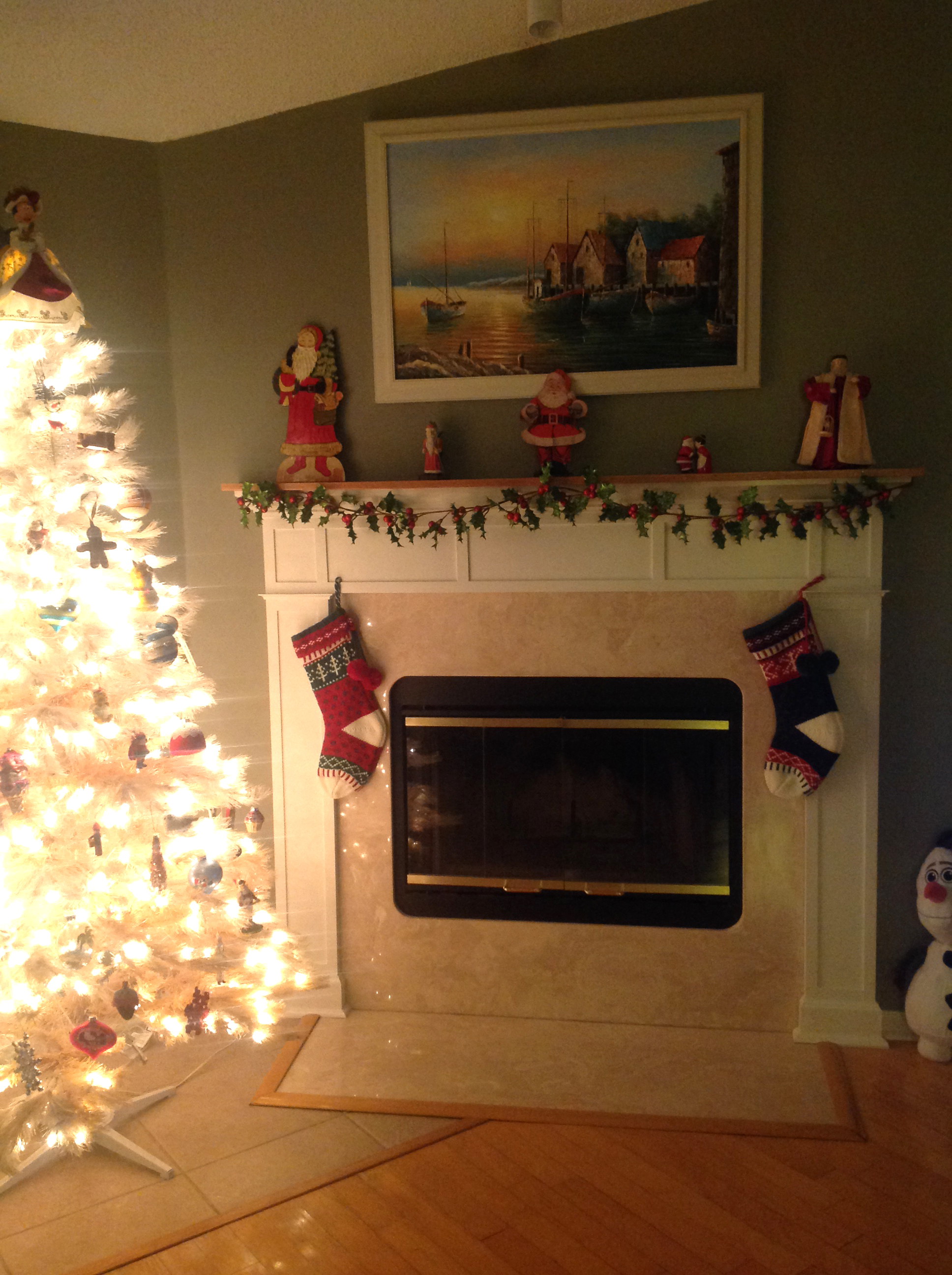 We love the mantle Bob built for our fireplace