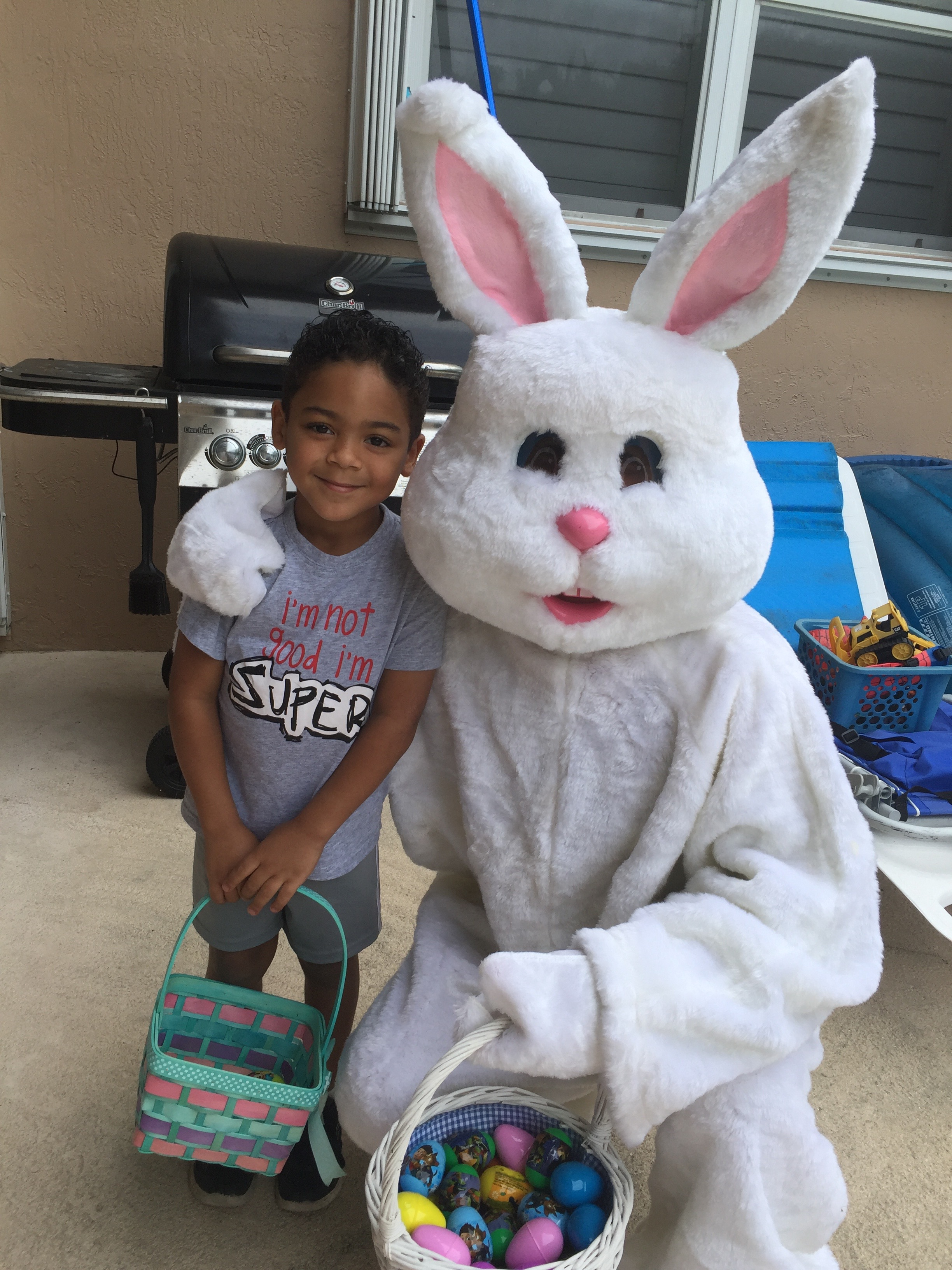 Our grandson with the Easter Bunny