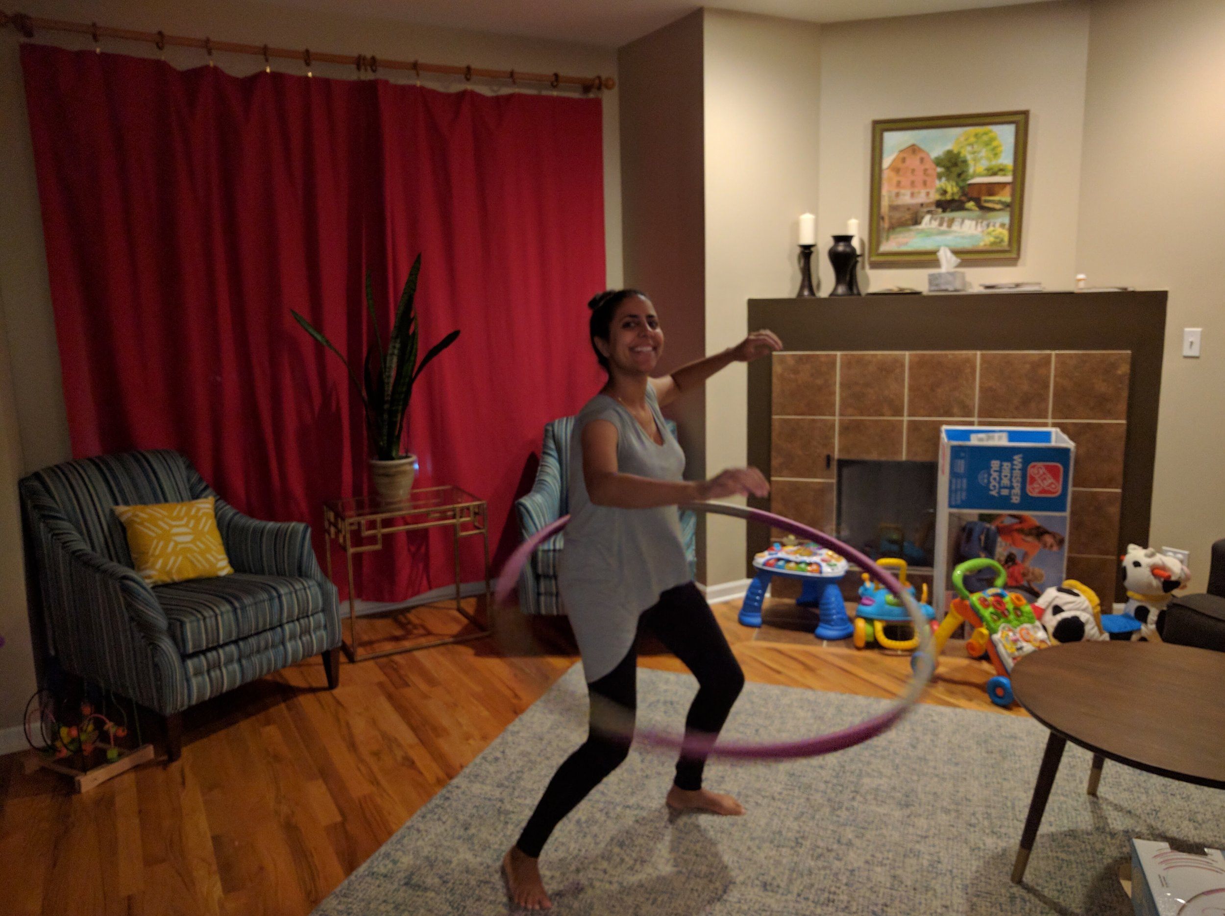 Just an average day with Sheela hula-hooping in the living room!