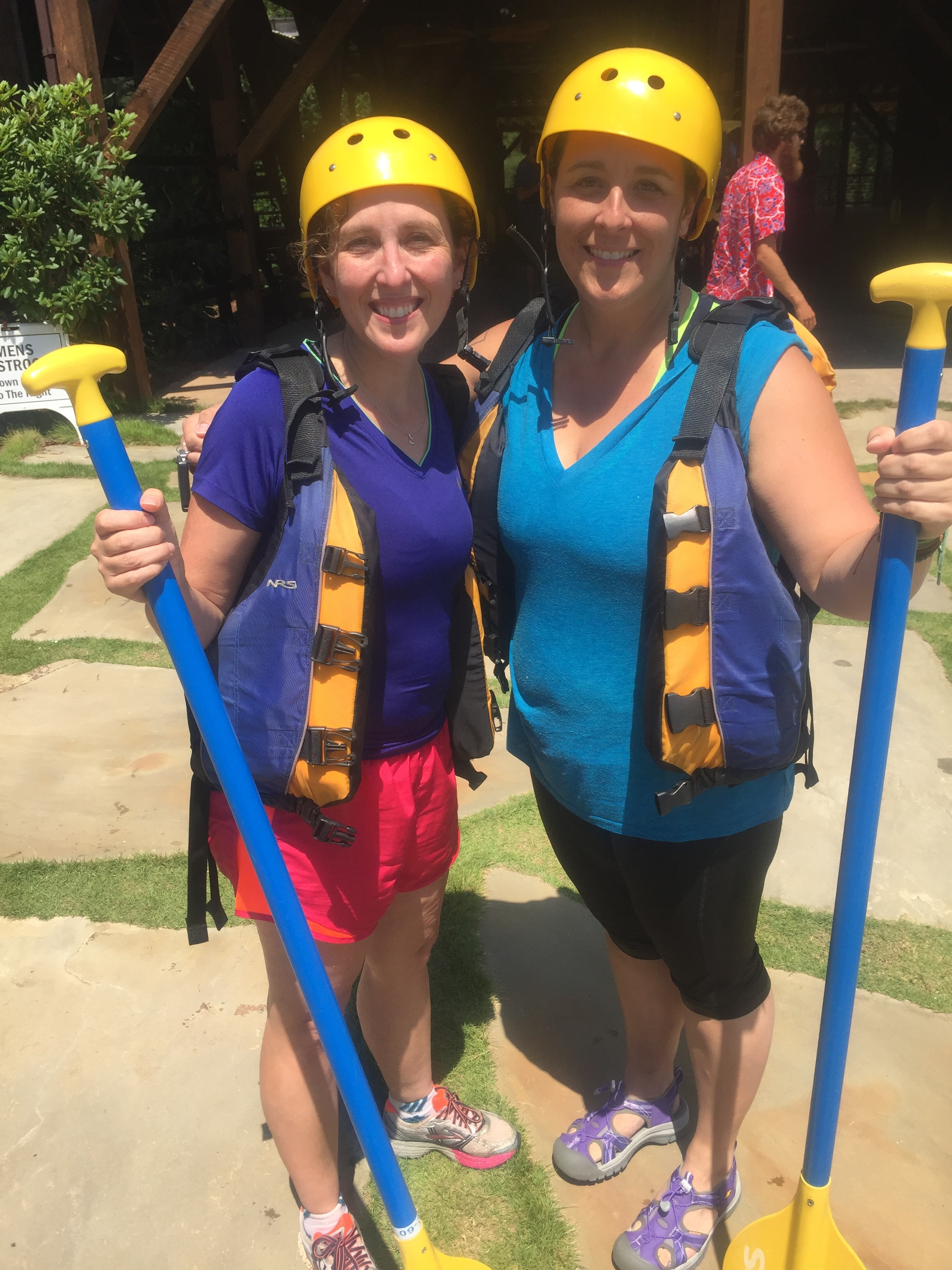 Whitewater rafting with friend Stephanie