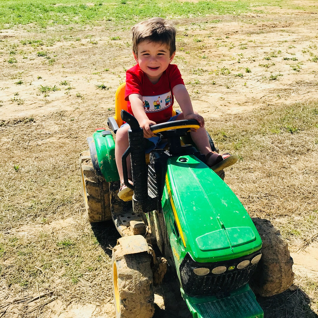 Parker's favorite toy, his tractor