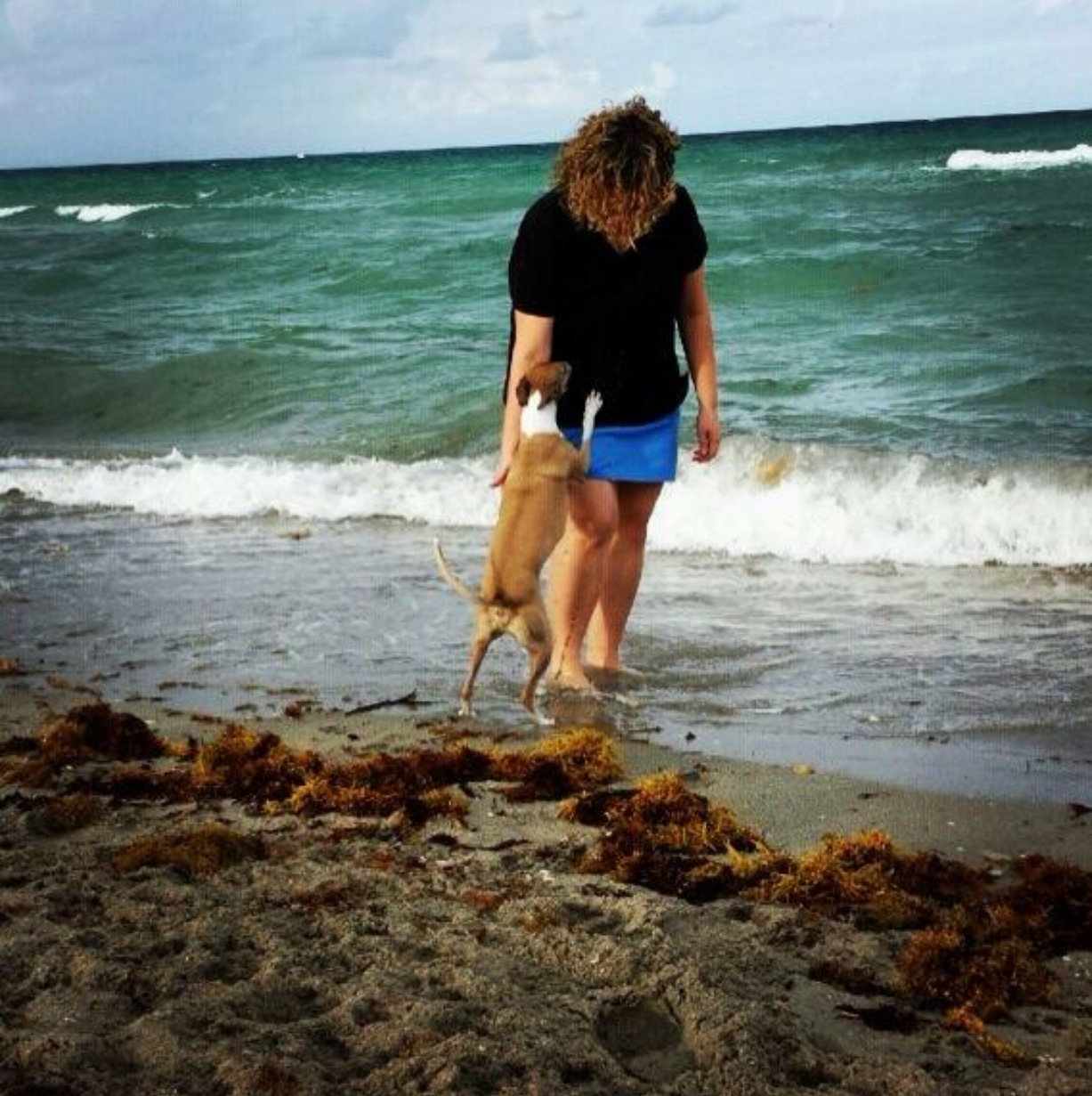 Playing with Pria at the beach