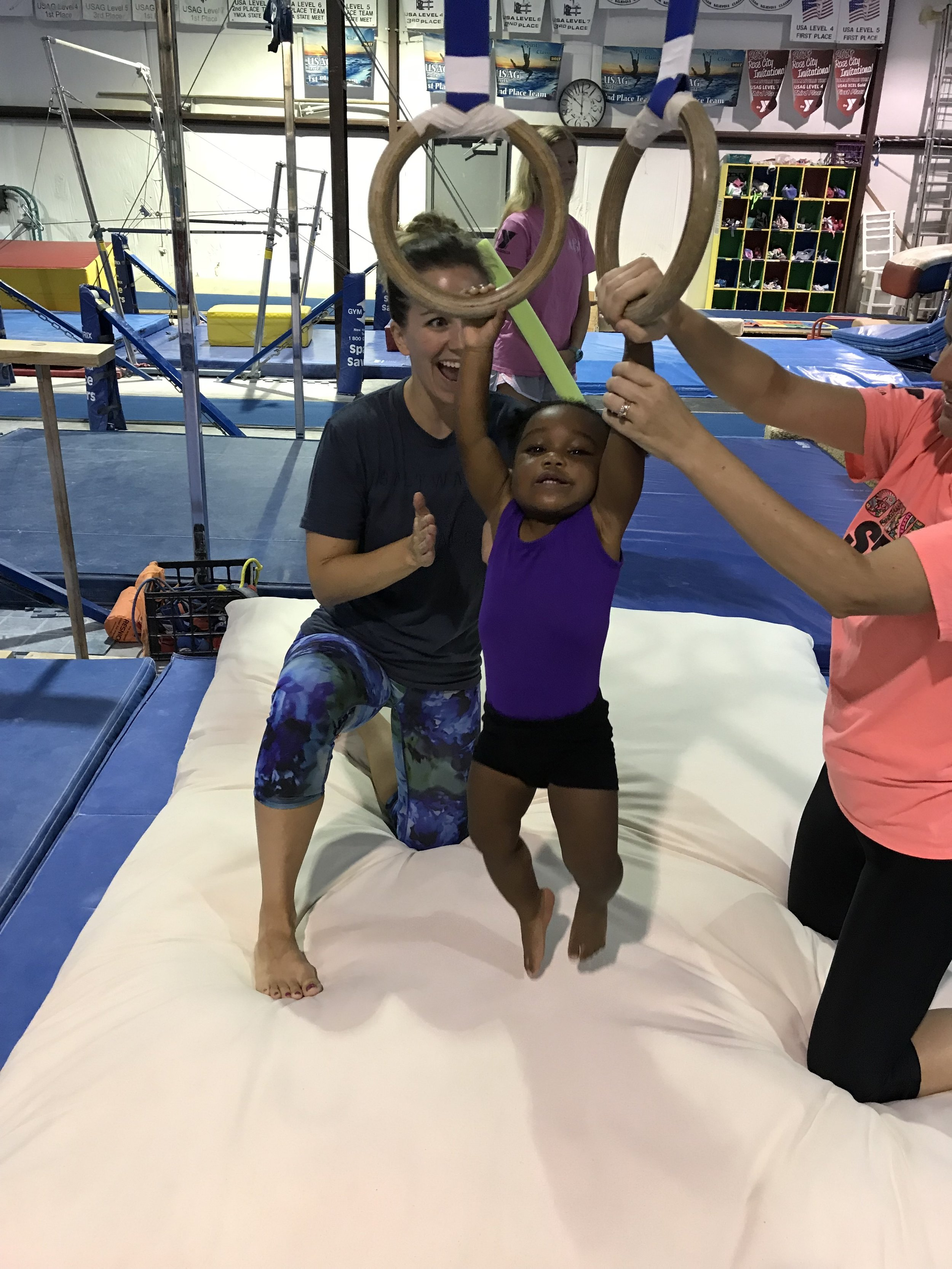 Evie loves gymnastics!  We are a pretty active bunch