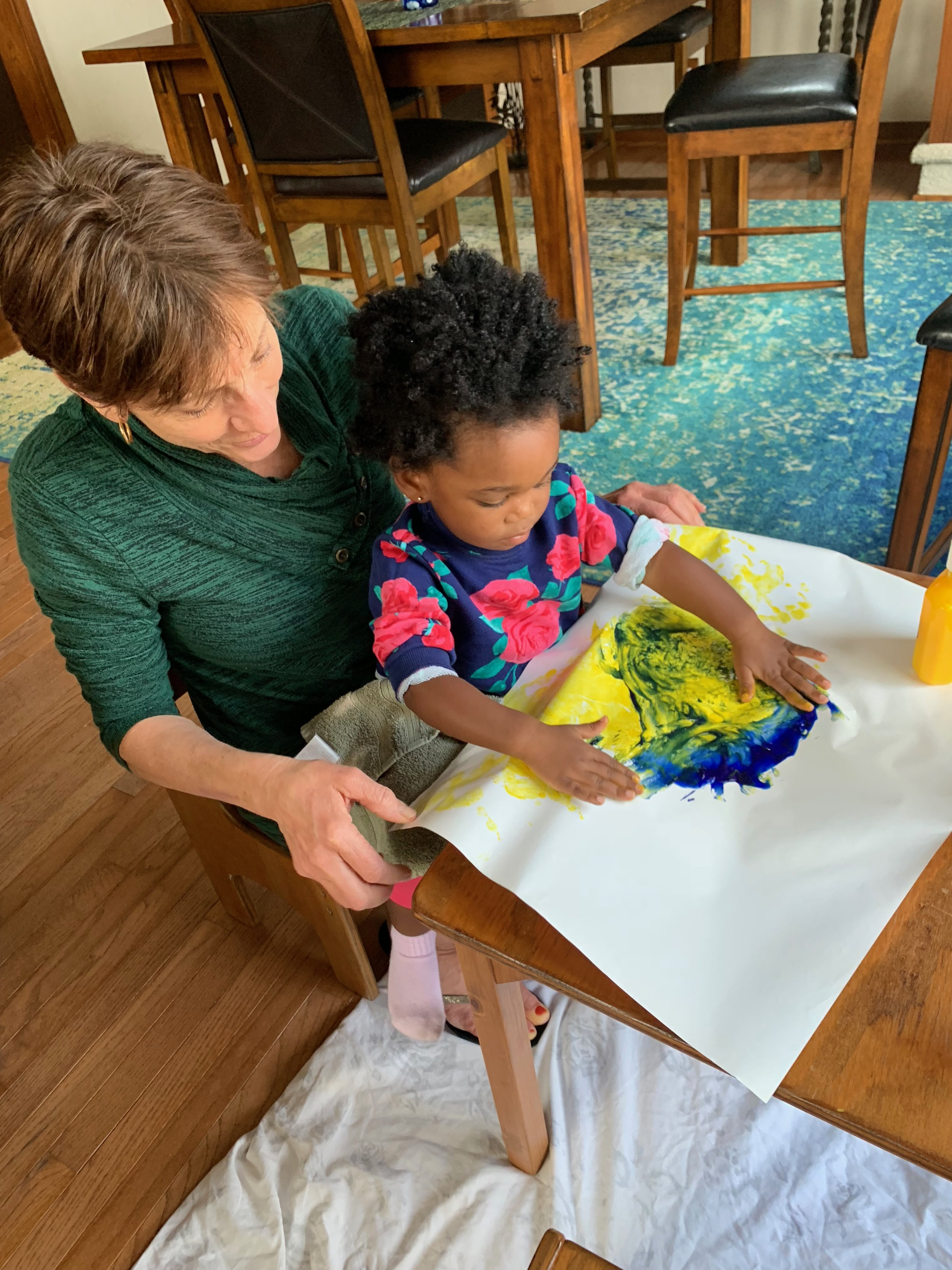 Finger painting with Nana