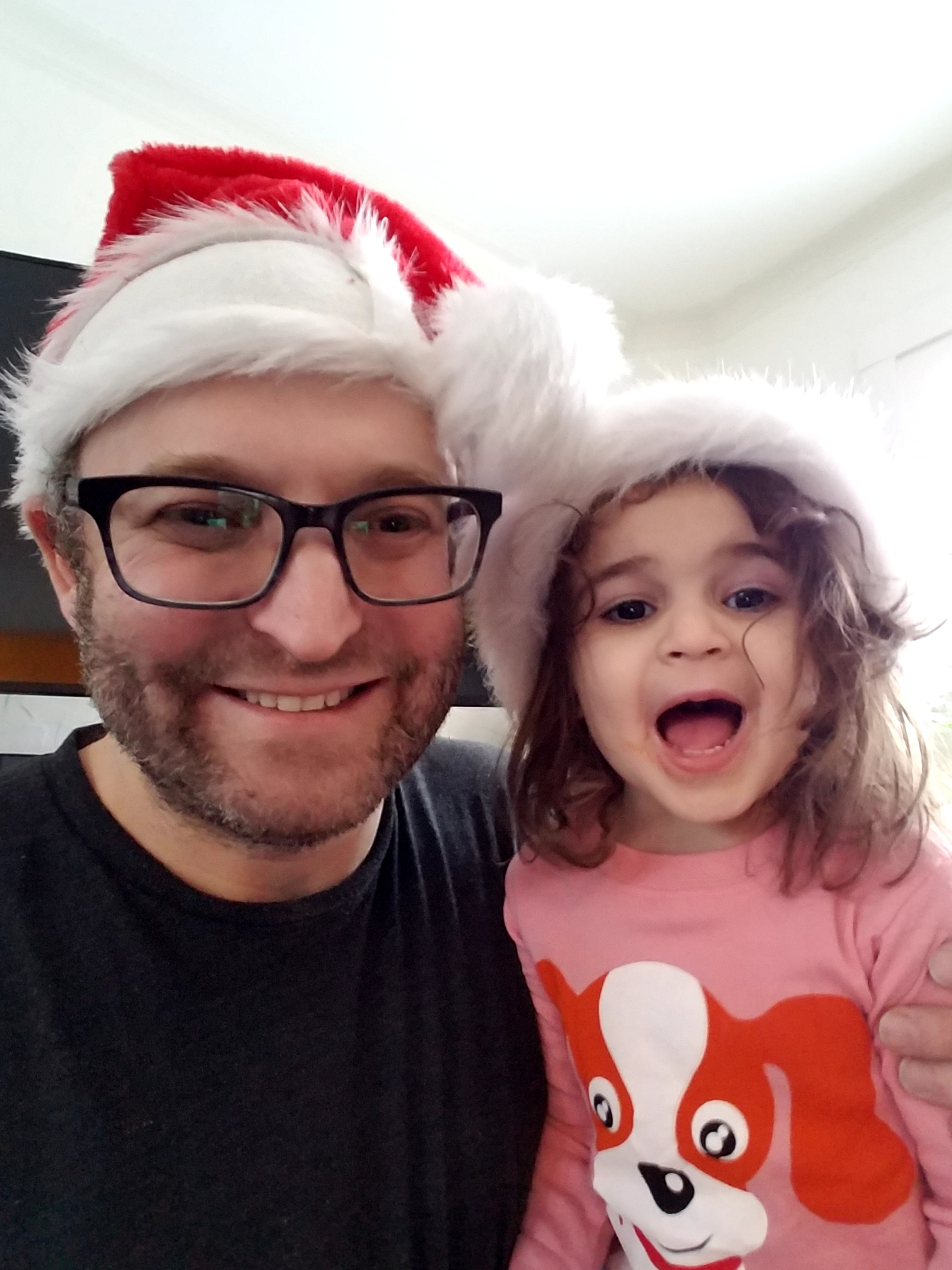 Alex and Ani in holiday hats
