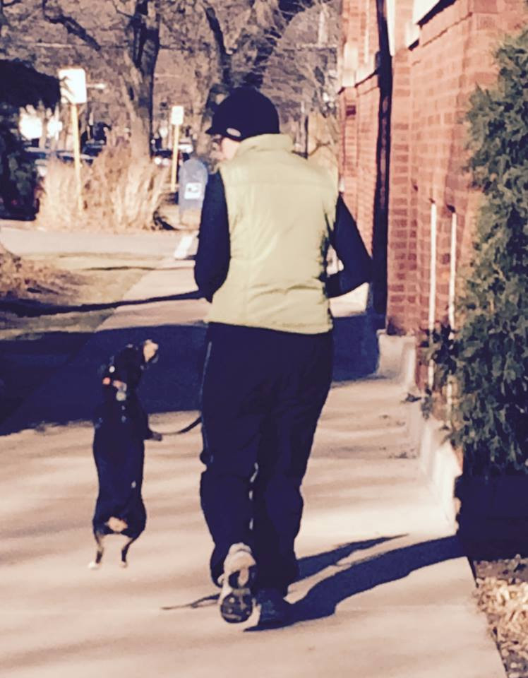 Meg and Daisy go for a jog.