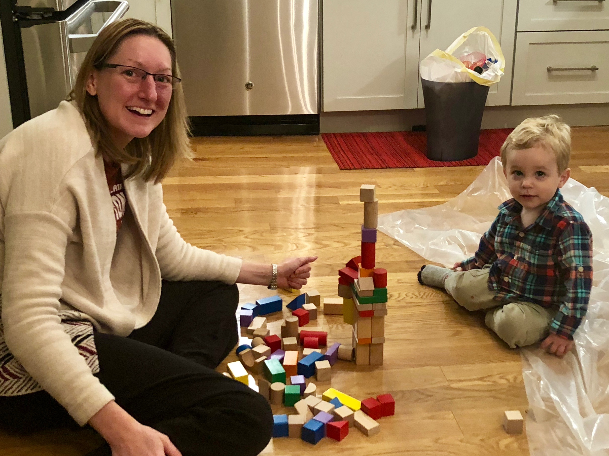 Laura building with her Godson