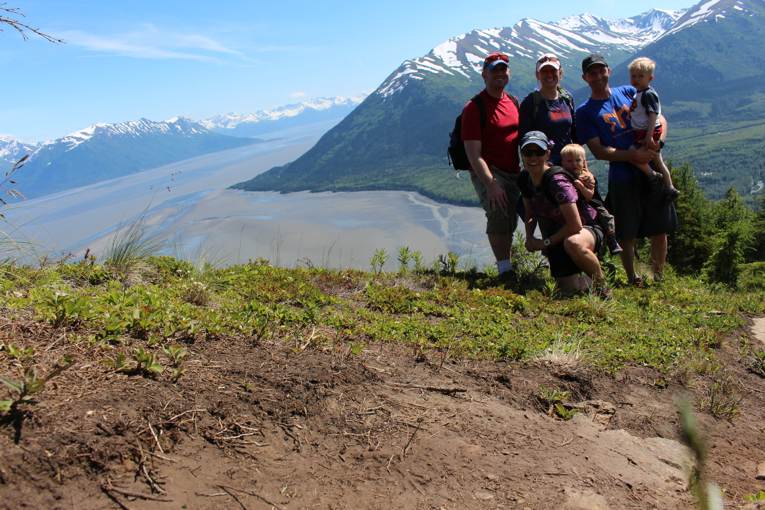 Family hike in Alaska