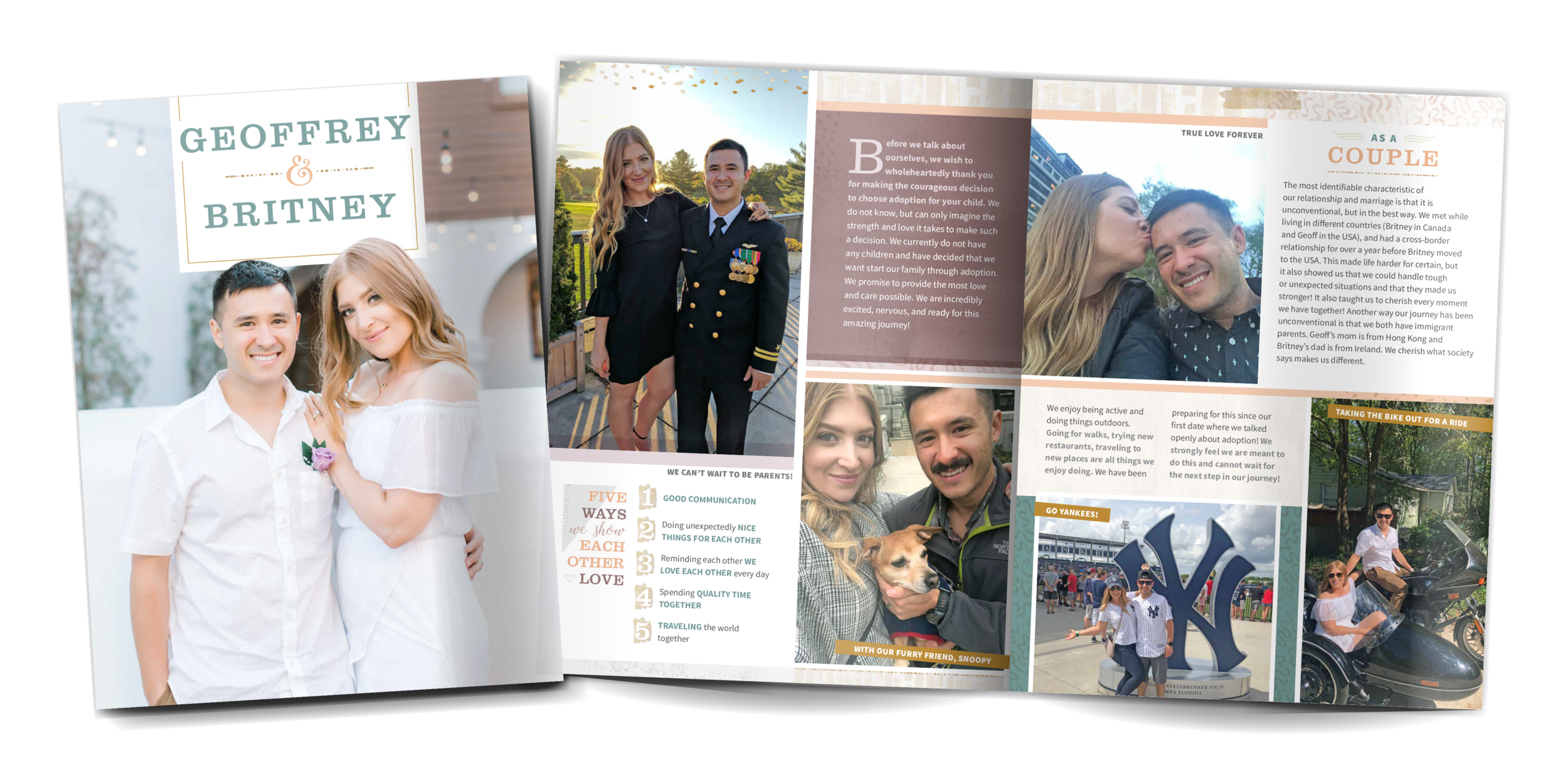 Britney and Geoffrey's adoption profile book