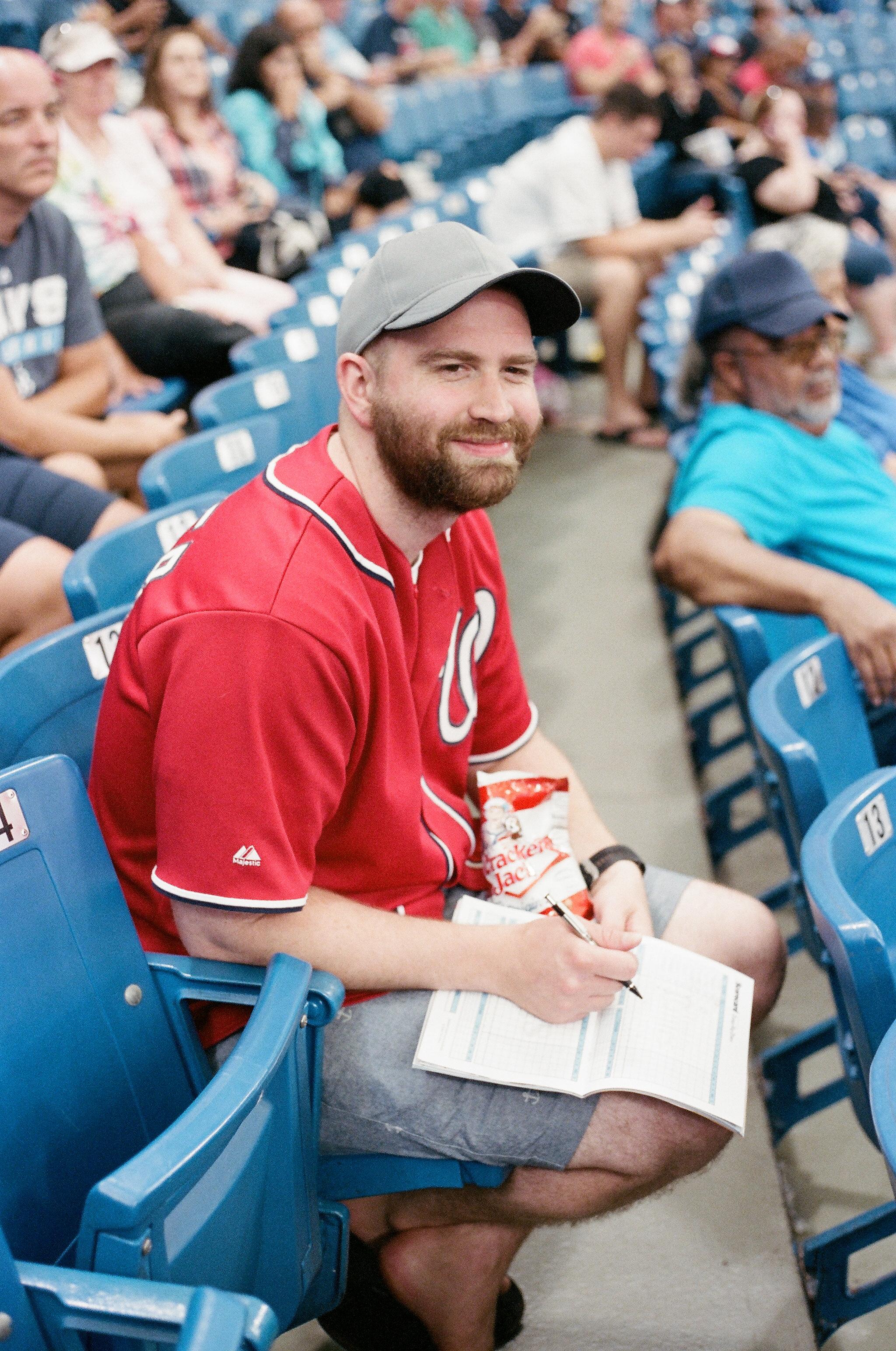 Matt loves keeping score at baseball games