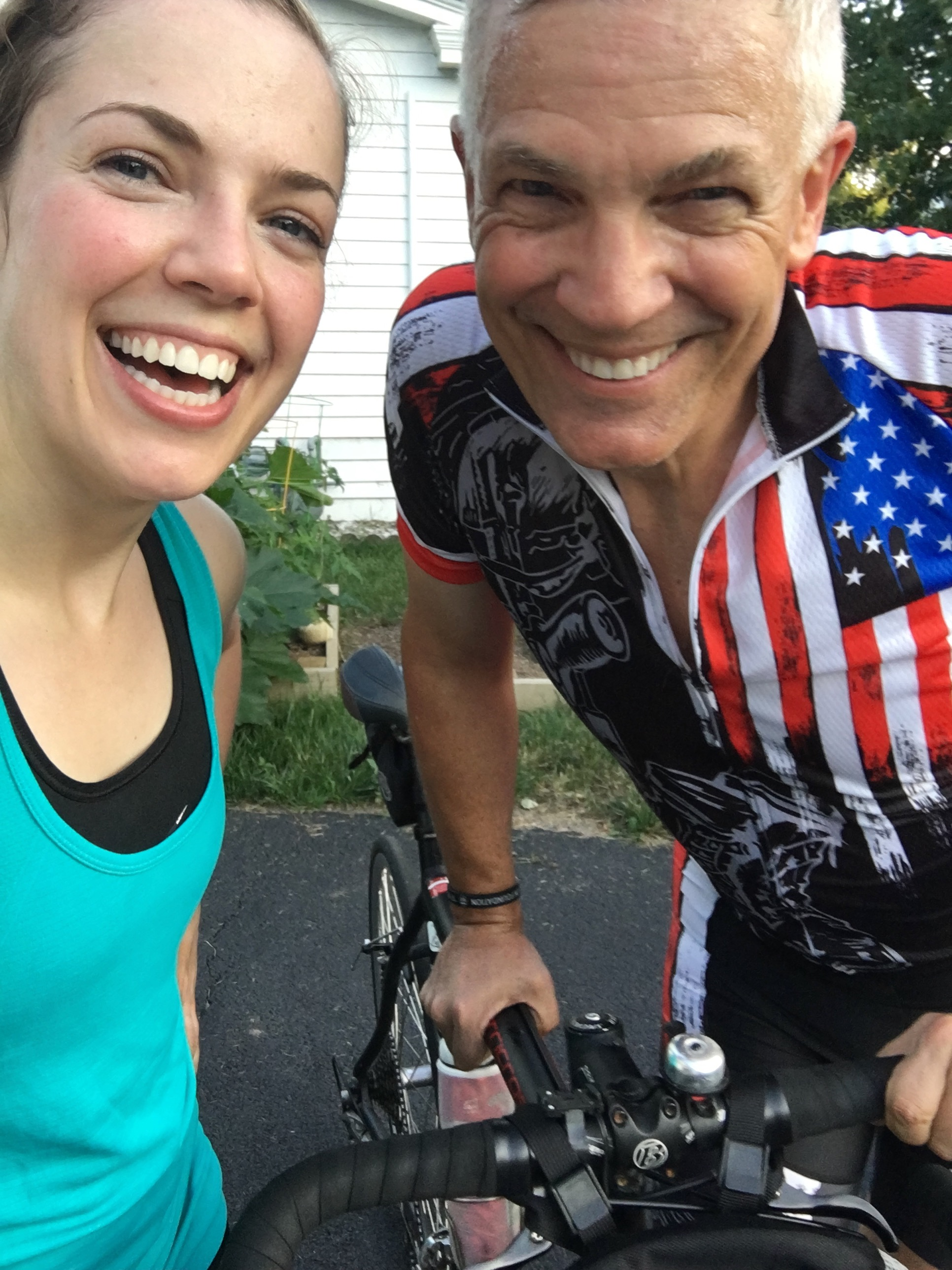 Abby and her Dad love biking and running together on the 50+ miles of trails near our home