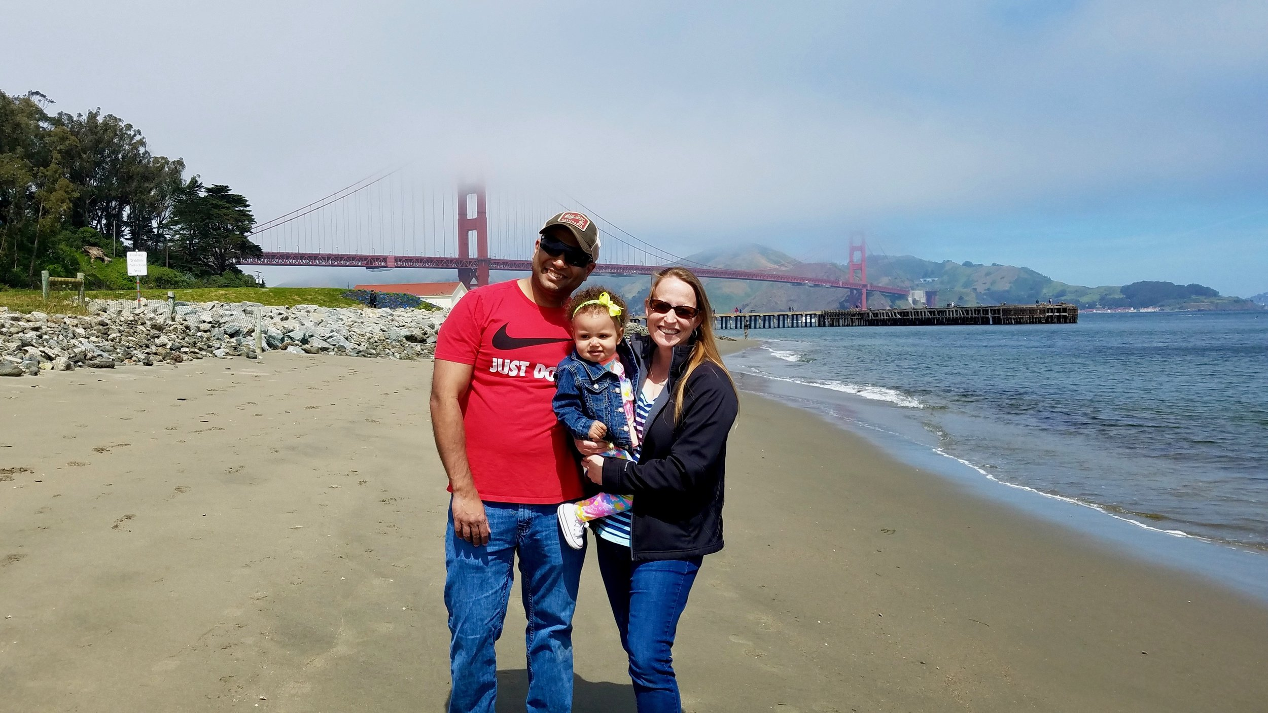 Family shot with Golden State Bridge