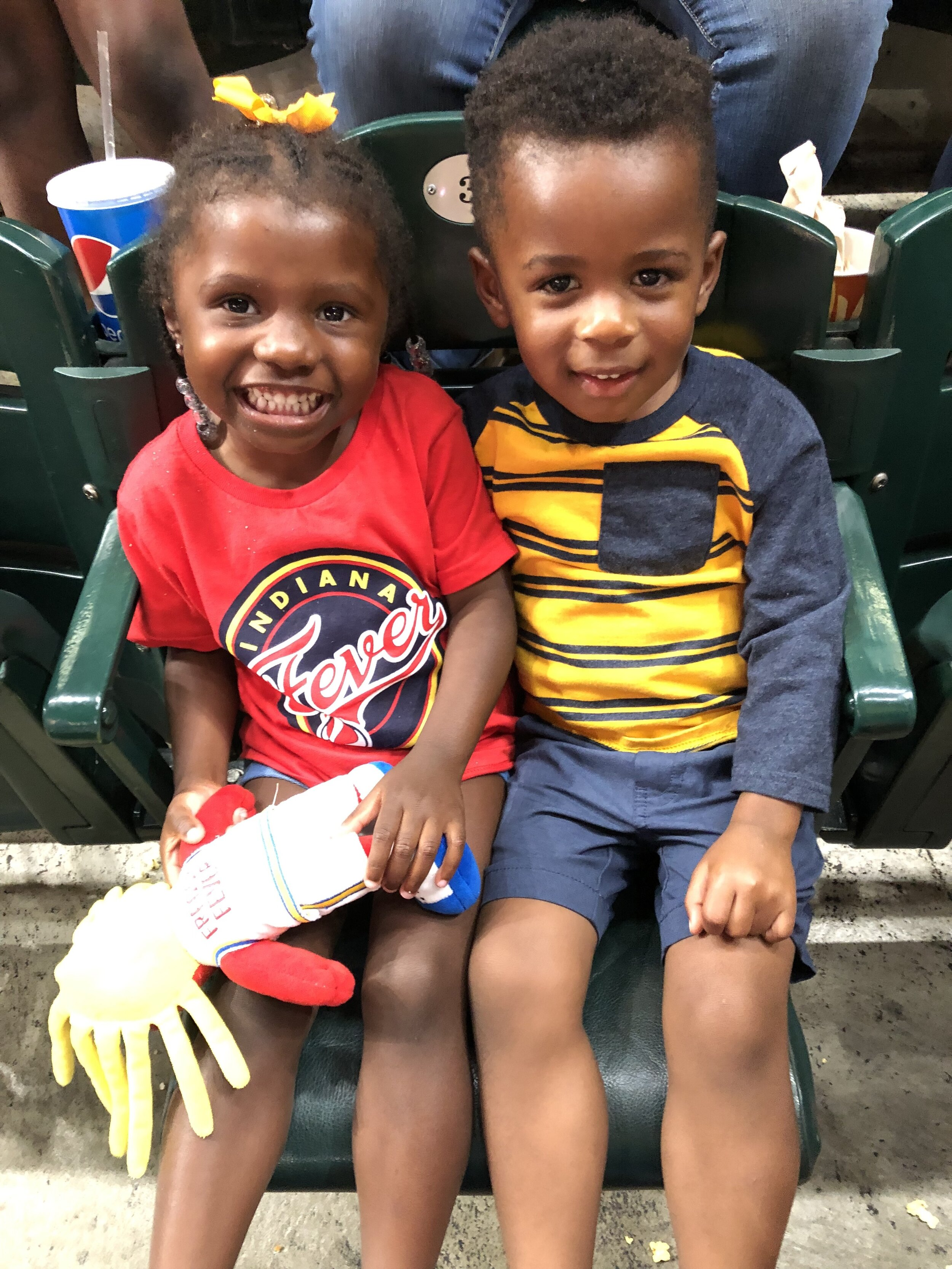 Maxwell and one of his best buddies at a WNBA Fever game