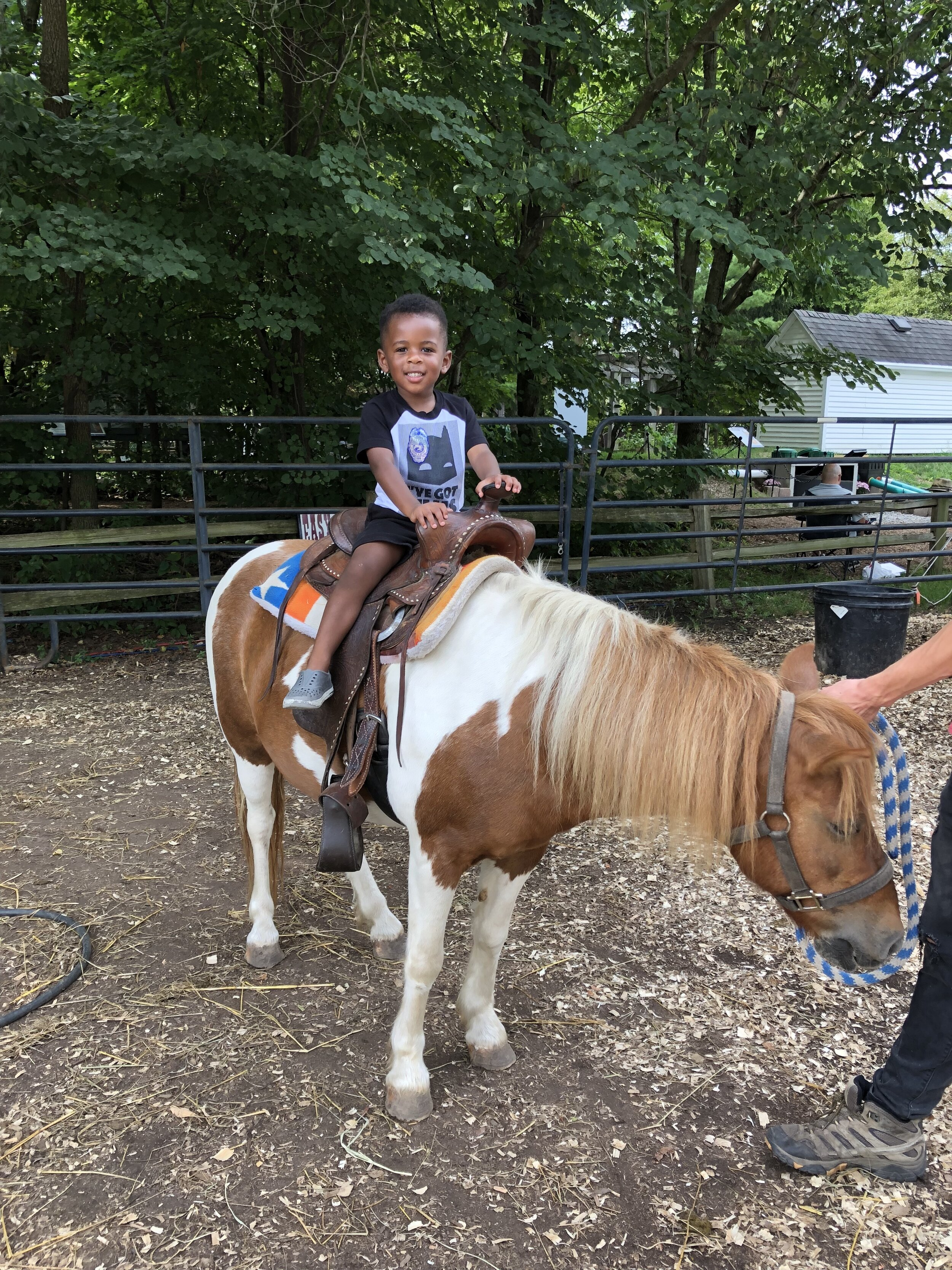 We went to the state fair and Maxwell got to ride a horse for the first time