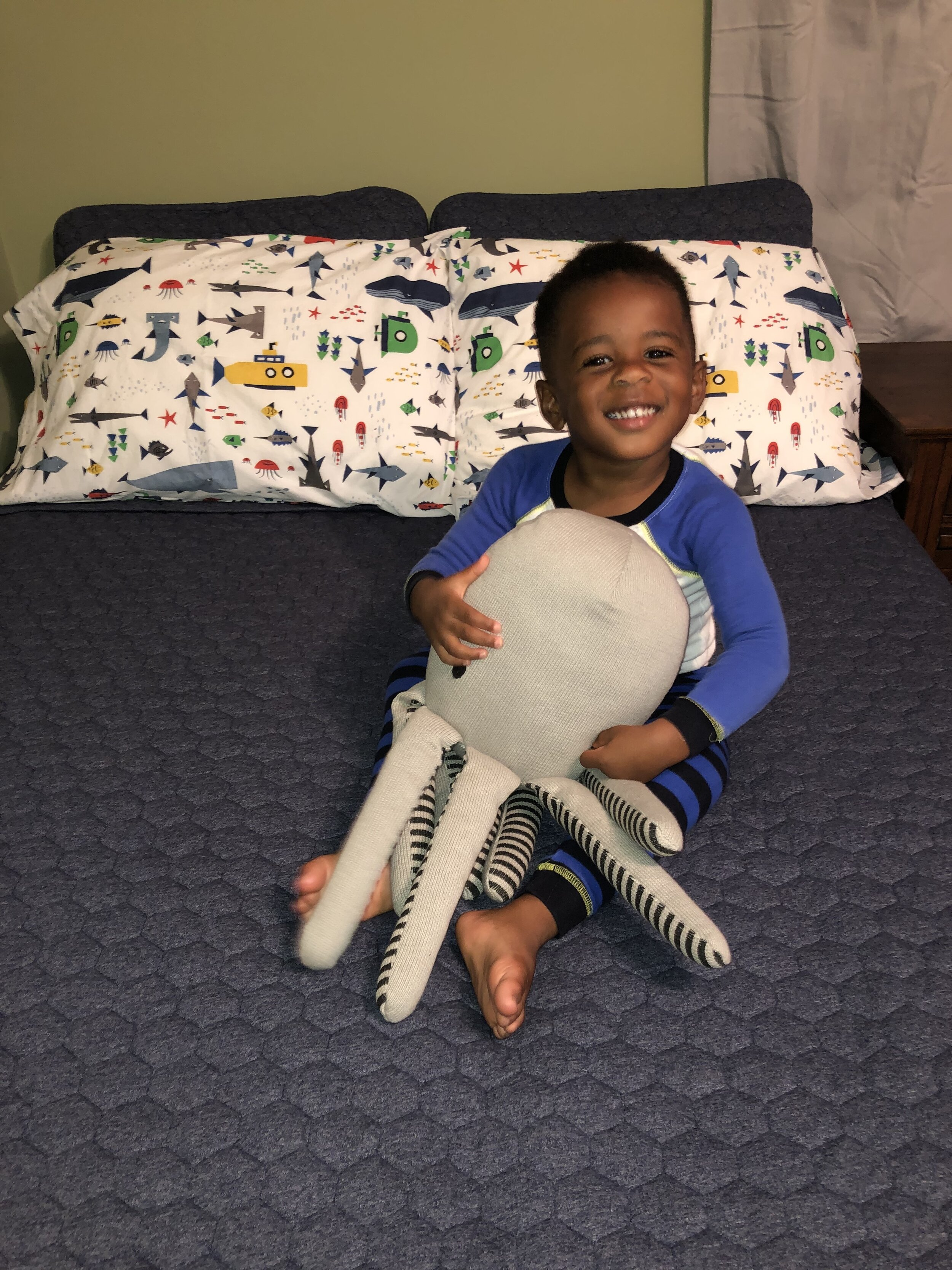 "Maxwell loves his ocean themed ""big boy"" bed"