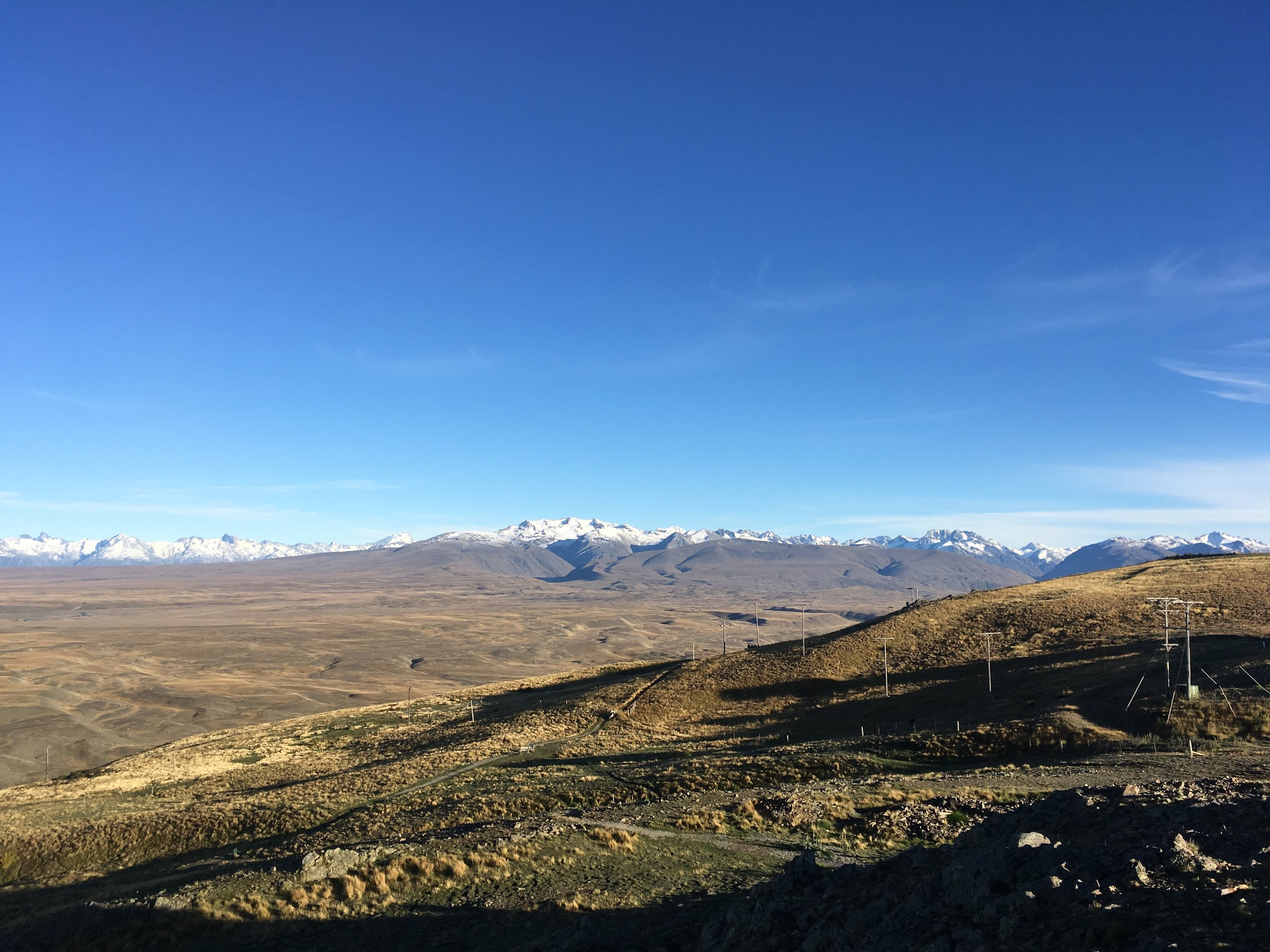 Looking at the mountain ranges of the South Island from the Mount John Observatory, Lake Tekapo, NZ