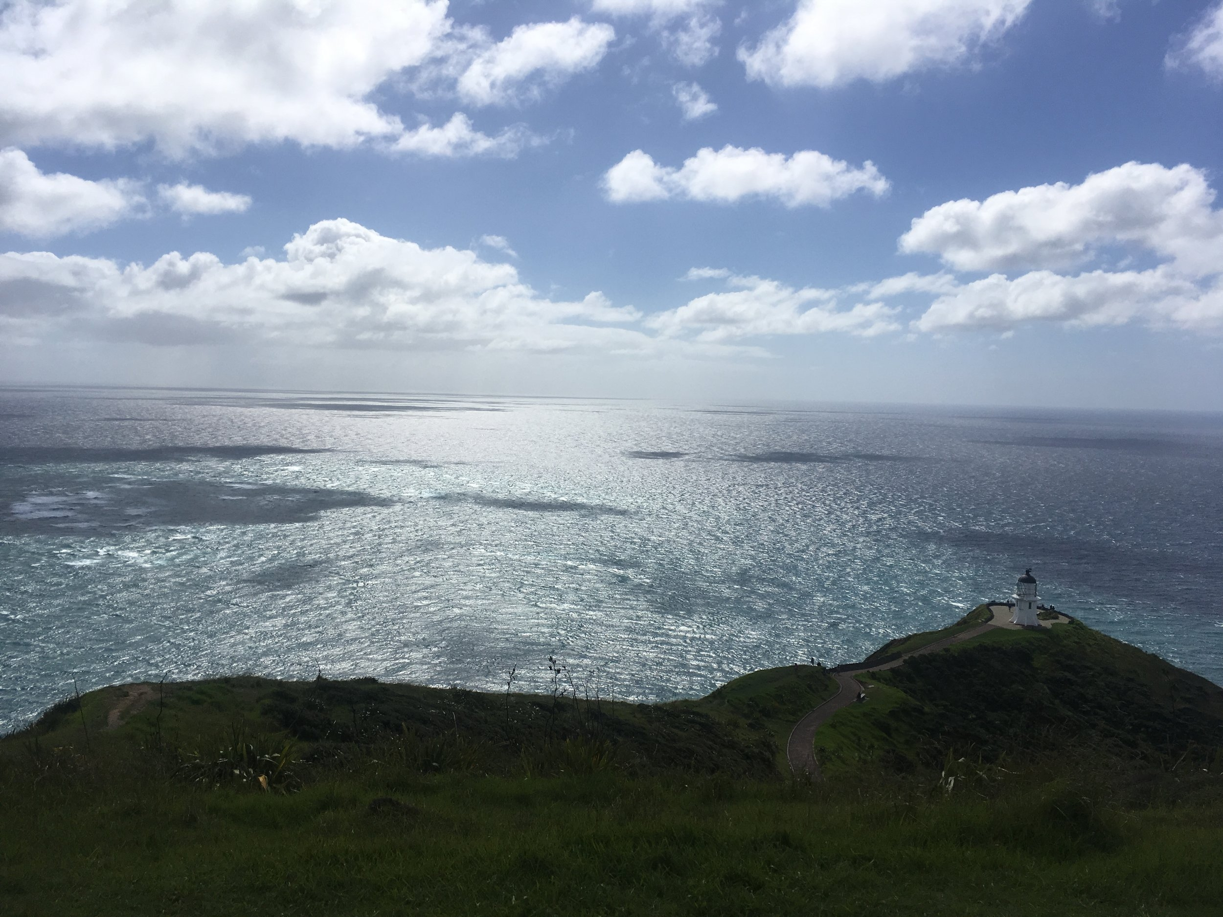 View looking out over Cape Reinga's lighthouse