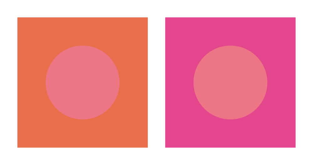 Simultaneous contrast (pink and orange)