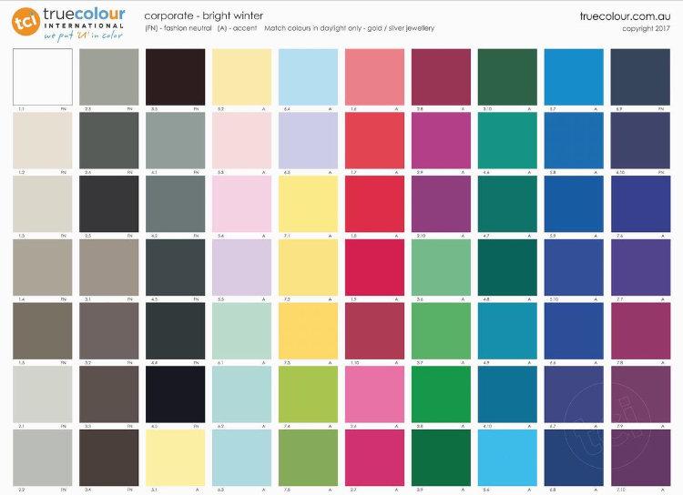 TCI Bright Winter corporate palette