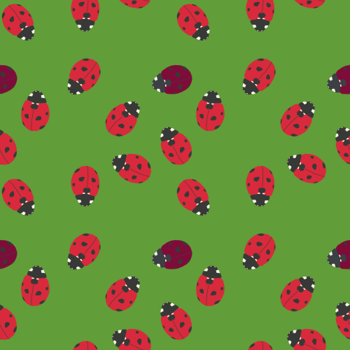 Bright Spring ladybird pattern with occasional True Summer ladybirds