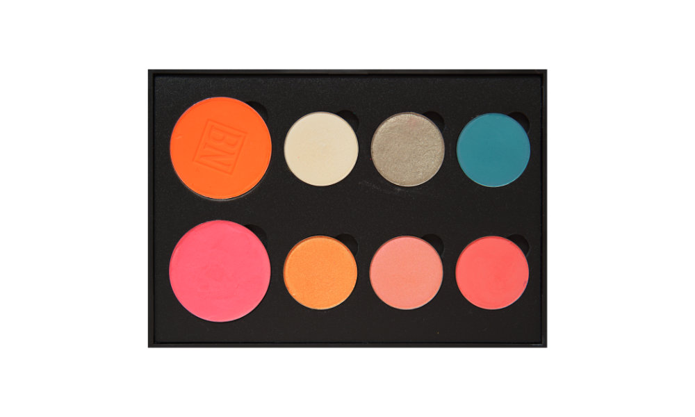6 small/2 large well palette from  Coastal Scents   Top row:  Orange Zest  (blush),  Blowfish ,  Bashful ,  Formation   Bottom row:  Pink  (blush),  Chauffeur ,  Heavy Glam ,  Making Moves