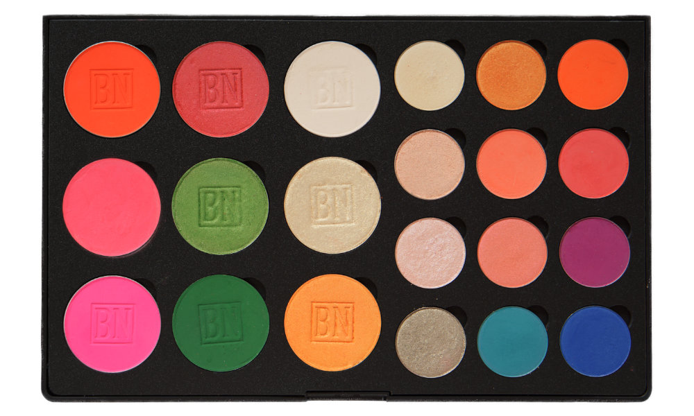 12 small/9 large well palette from  Coastal Scents   1st column (blushes):  Blood Orange ,  Pink ,  Pink Pop   2nd column:  Persimmon ,  Chartreuse ,  Shamrock   3rd column:  Vanilla ,  Iced Gold ,  Tangerine   4th column:  Blowfish ,  I'm Peachless ,  Liar Liar ,  Bashful   5th column:  Chauffeur ,  Summer Lovin ,  Heavy Glam ,  Formation   6th coloumn:  Bratty ,  Making Moves ,  143 ,  Backstage