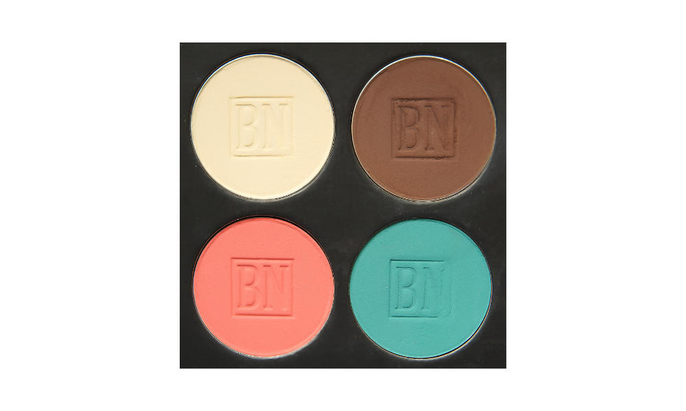 4 well palette from  Ben Nye , similar palette also available from  Makeup Mania   Clockwise from top left:  Toast ,  Dark Brown ,  Turquoise ,  Nectarine  (blush)