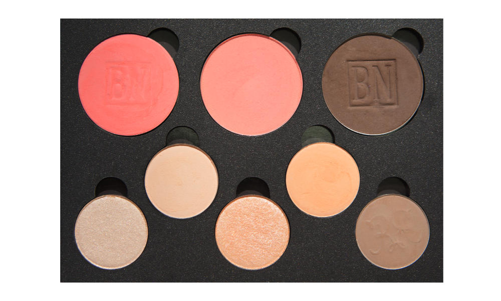 5 small/3 large well palette from  eBay   Top row:  Strawberry  (blush),  Suburbia ,  Mink Stole   Middle row:  Hear Me Out ,  Issues   Bottom row:  Let Me Explain ,  Ready Or Yacht ,  Chestnut-Napped Apalis