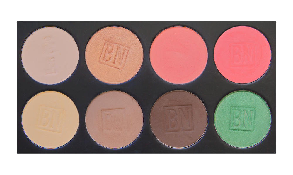 8 large well palette from  Ben Nye   Top row:  Shell ,  Golden Apricot ,  Suburbia ,  Strawberry  (blush)  Bottom row:  Banana ,  Taupe ,  Mink Stole ,  Mermaid Green