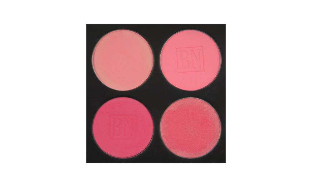 4 well palette from  Ben Nye , similar palette also available from  Makeup Mania   Top row:  Scarlet ,  Pink Bliss   Bottom row:  Misty Pink ,  Mandarin Red