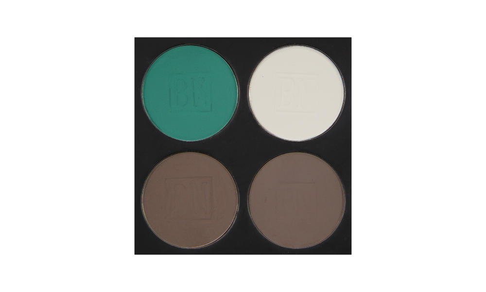 4 well palette from  Ben Nye , similar palette also available from  Makeup Mania   Top row:  Caribbean ,  White  (BW)  Bottom row:  Smokey Taupe ,  Cobblestone