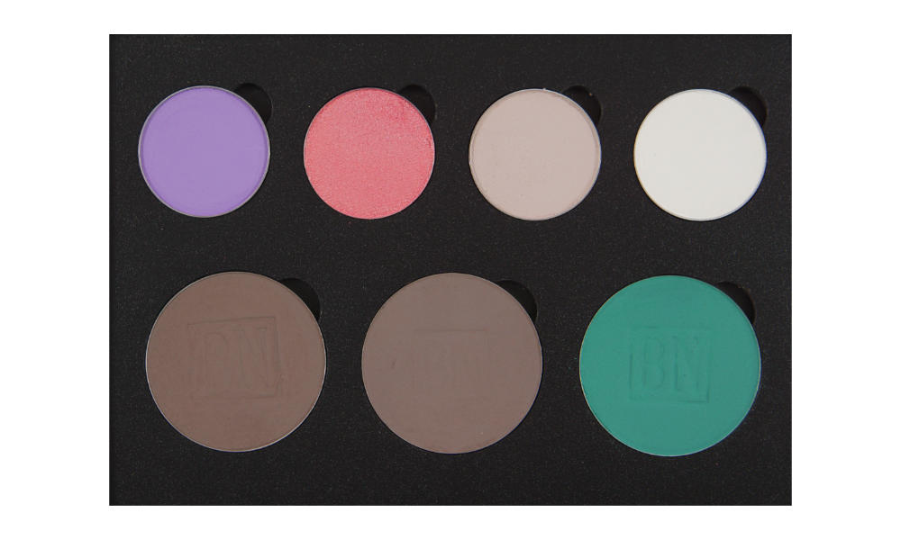 4 small/3 large well palette from  Coastal Scents   Top row:  Hopscotch ,  Pink Of Me ,  Sand Dollar  (SSu),  Ice Queen  (BW)  Bottom row:  Smokey Taupe ,  Cobblestone ,  Caribbean