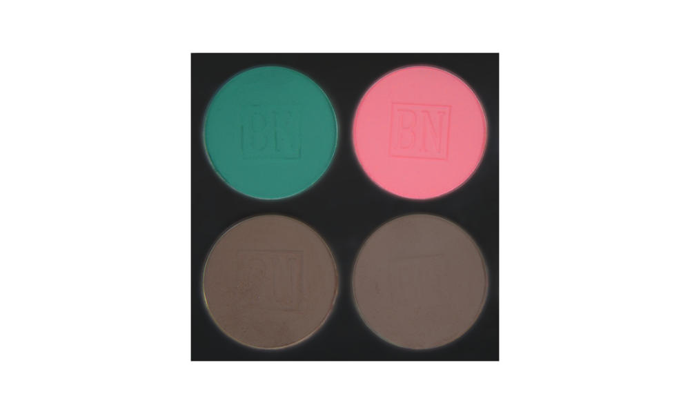 4 well palette from  Ben Nye , similar palette also available from  Makeup Mania   Top row:  Caribbean ,  Pink Bliss  (blush)  Bottom row:  Smokey Taupe ,  Cobblestone