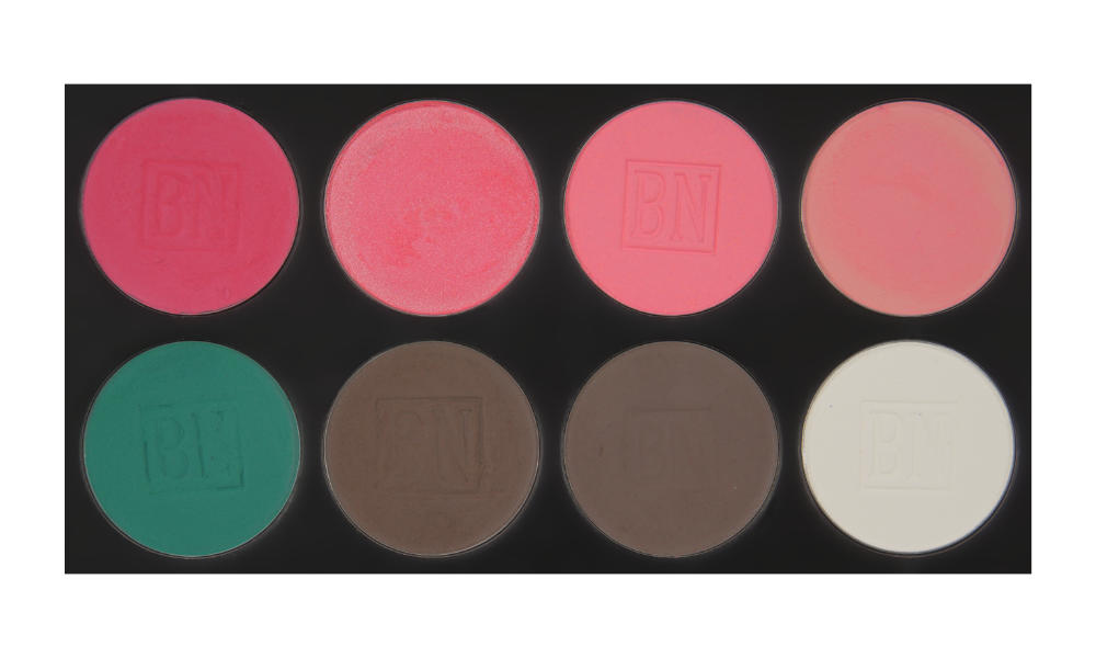 8 large well palette from  Ben Nye   Top row (blushes):  Misty Pink ,  Coral Spice ,  Pink Bliss ,  Scarlet   Bottom row:  Caribbean ,  Smokey Taupe ,  Cobblestone ,  White  (BW)