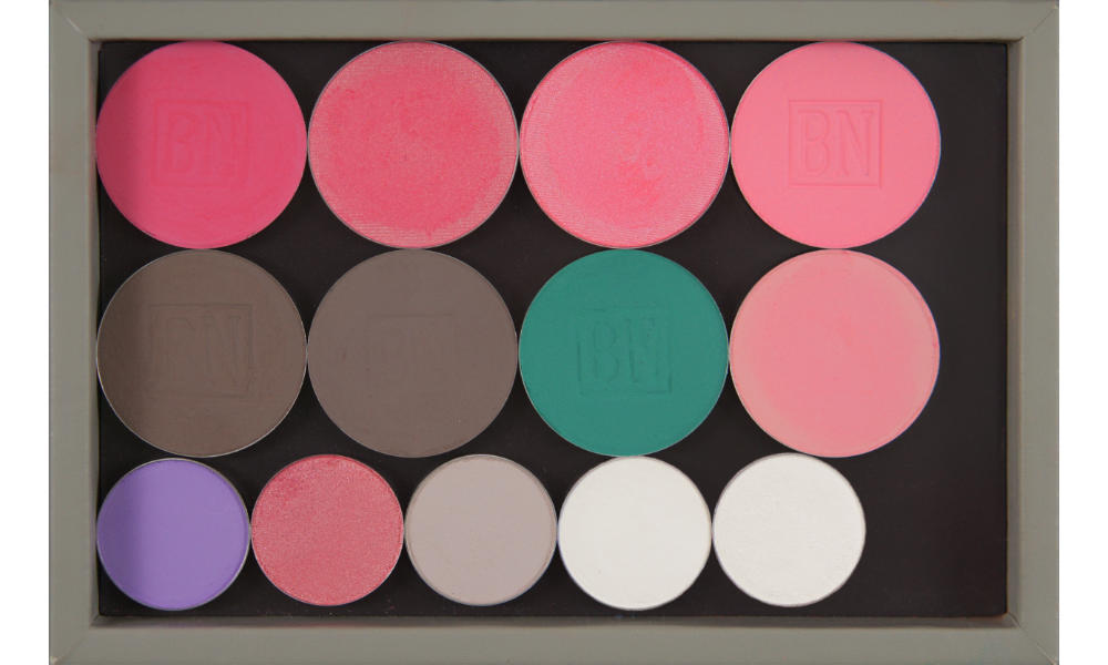 Freestyle palette from Salt New York in  French Grey , also available in  Black   Top row (blushes):  Misty Pink ,  Coral Spice ,  Pink Bliss   Middle row:  Smokey Taupe ,  Cobblestone ,  Caribbean ,  Scarlet  (blush)  Bottom row:  Hopscotch ,  Pink Of Me ,  Sand Dollar  (SSu),  White Lies  (BW),  Ice Queen  (BW)