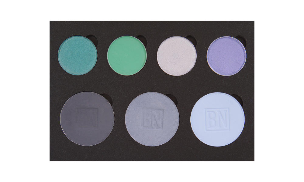 4 small/3 large well palette from  Coastal Scents   Top row:  Tiny Tangerines ,  Dragonfly ,  Beam Me Up ,  Chit Chat   Bottom row:  Greystone ,  Blue Grey ,  Cinderella Blue