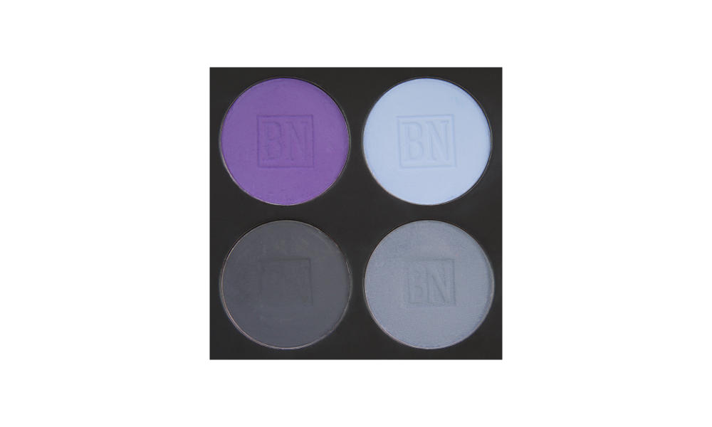4 well palette from  Ben Nye , similar palette also available from  Makeup Mania   Top row:  Royal Purple ,  Cinderella Blue   Bottom row:  Greystone ,  Blue Grey