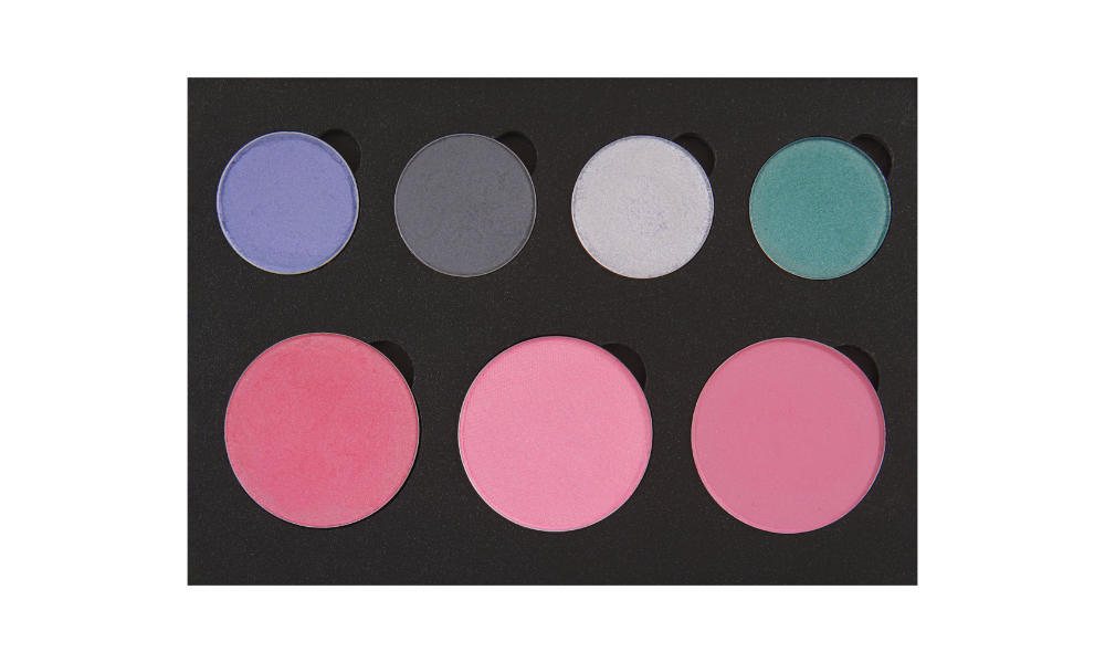 4 small/3 large well palette from  Coastal Scents   Top row:  Chit Chat ,  Trumpeter Koel ,  Beam Me Up ,  Slay-Farer   Bottom row (blushes):  Lilac Lace ,  Satin Rose ,  Precious Plum